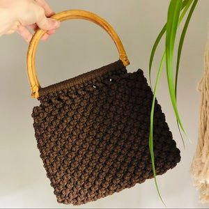 Macrame Wicker Handle Vintage Brown Purse Bag